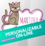 Pegatina gatito personalizado para niña