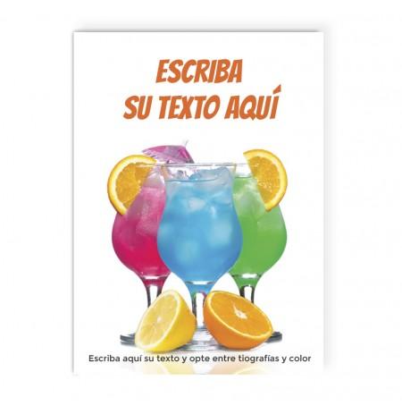 cartel para ofertar combinados de bebidas