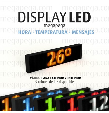 Display Led 70 x 20cm Reloj, temperatura y mensaje. 1 Cara. Varios colores