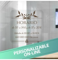 Horario en vinilo ornamental